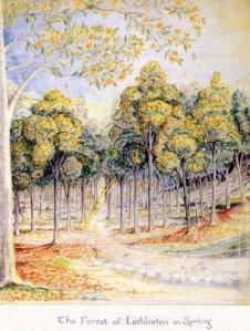Illustrazione di Tolkien di Lothlorien in primavera