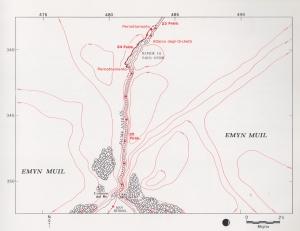 tavola 24: il Grande Fiume , le rapide di Sarn Gebir, gli Argonath