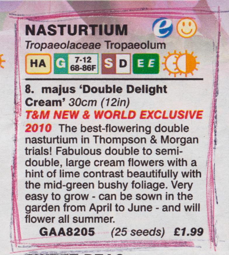 tropaeolum majus double delight cream