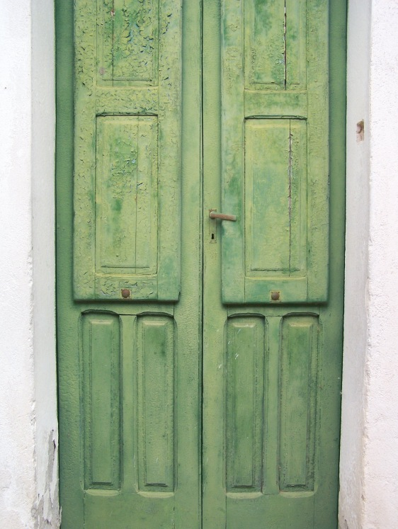 old green door closed