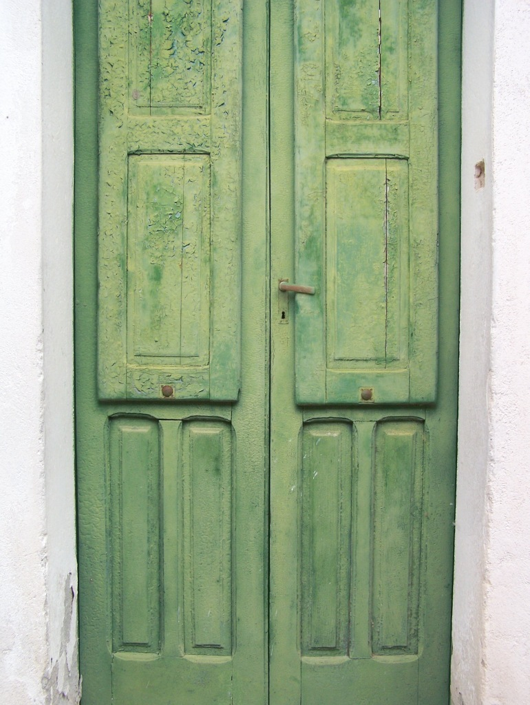 old green door closed